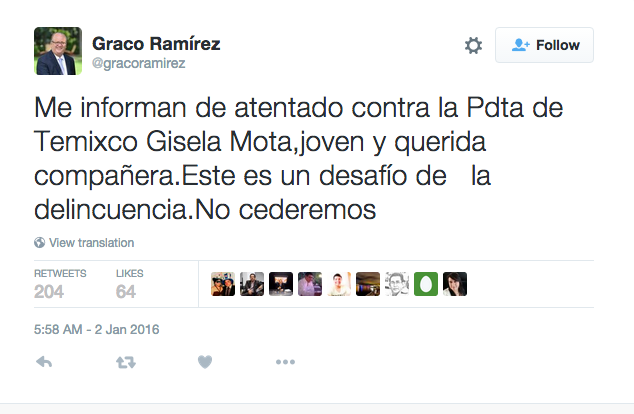Tuit sobre alcaldesa asesinada