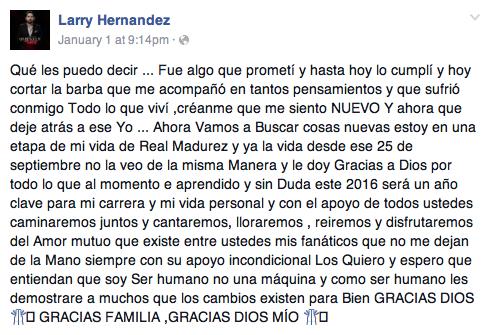 Mensaje de Larry Hernández