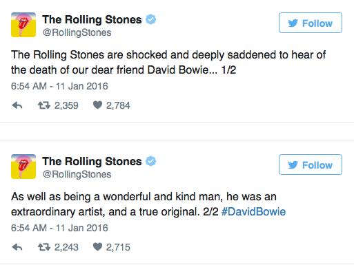 The Rolling Stones reacciona ante la muerte de David Bowie