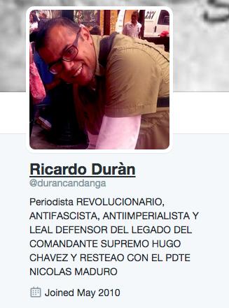 perfil de twitter de ricardo durán