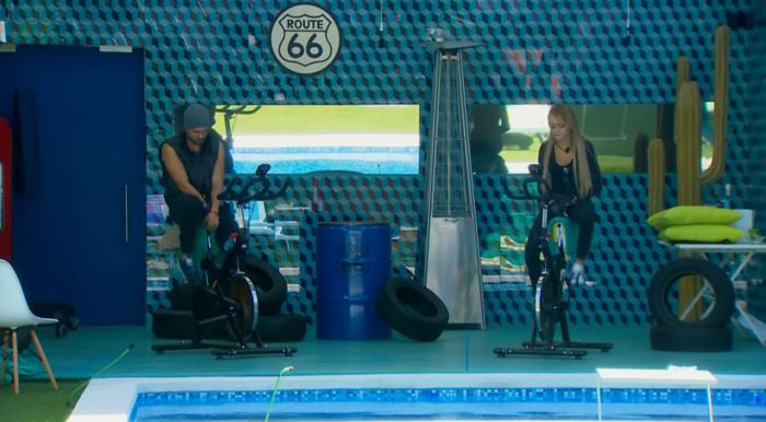 Dante y Maday en el reto de la bicicleta de Gran Hermano