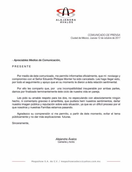 Comunicado Alejandra Ávalos