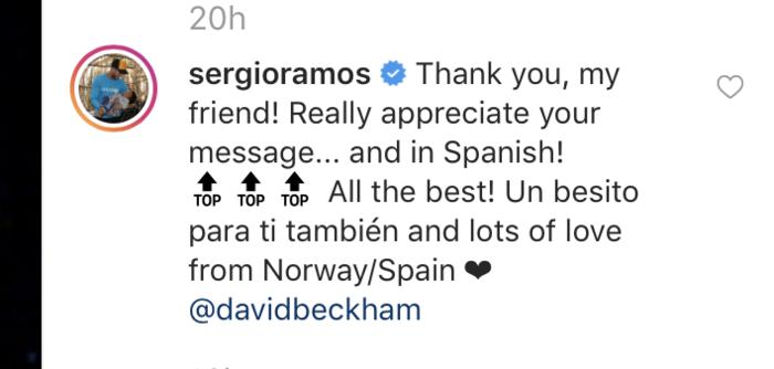 Mensaje de Sergio Ramos para David Beckham