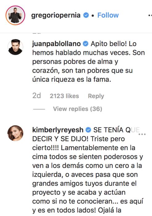 Mensaje de Kimberly Reyes y Juan Pablo Llano para Gregorio Pernía.