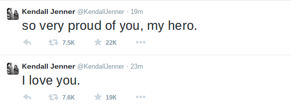Tweet de Kendall Jenner para Bruce