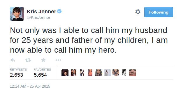 Tweet de Kris Jenner a Bruce Jenner