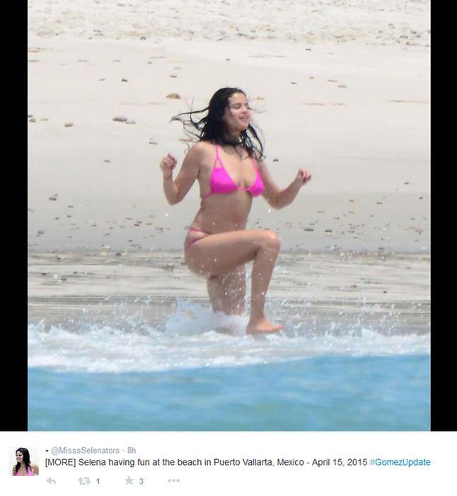 Selena Gomez en la playa Puerto Vallarta, Jalisco, en México.