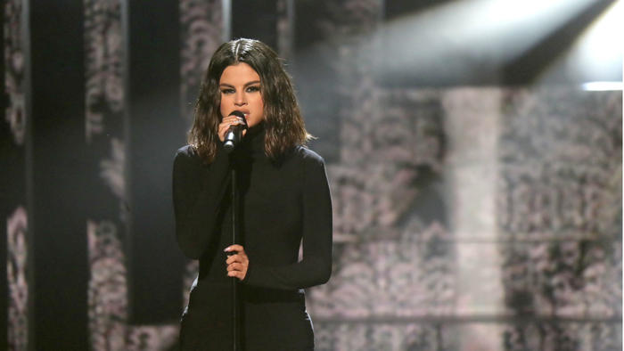 Selena Gomez performs onstage during the 2019 American Music Awards.
