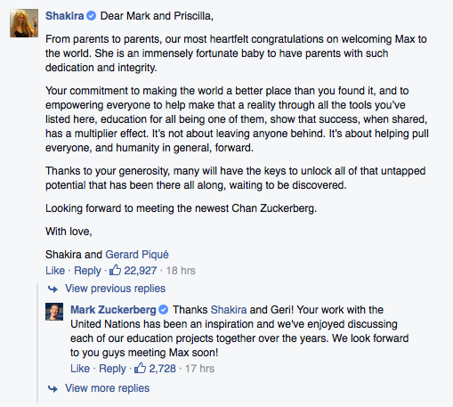 shakira manda felicitaciones a mark zuckerberg por convertirse en papá