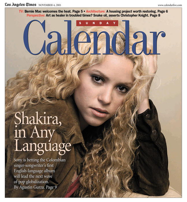 Shakira photo for sunday calendar cover refer for 11/4/01. Photo by ^^^/Los Angeles Times.