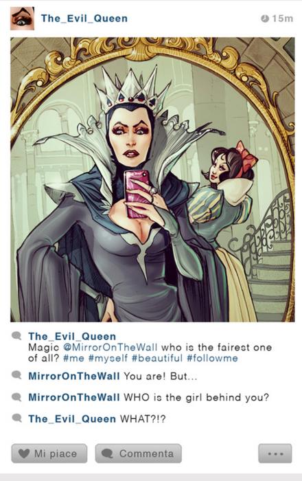 Si la reina Grimhilde tuviera Instagram, por Simona Bonafini