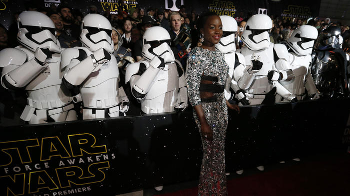 """Actress Lupita Nyong'o arrives at the premiere of """"Star Wars: The Force Awakens"""" in Hollywood"""