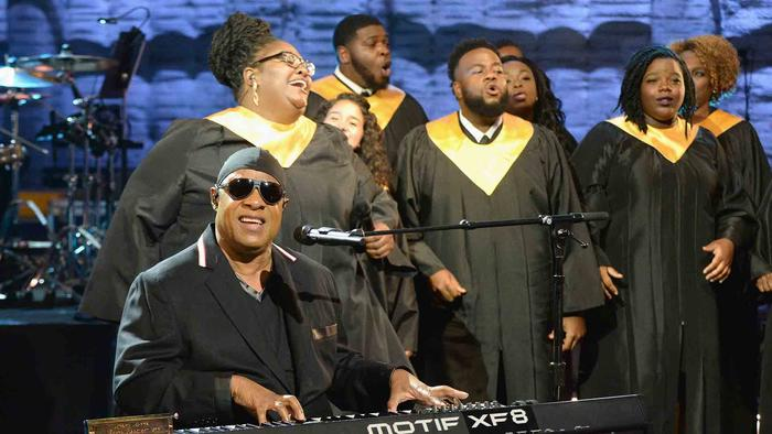 Stevie Wonder cantando en Hand in Hand: A Benefit for Hurricane Relief
