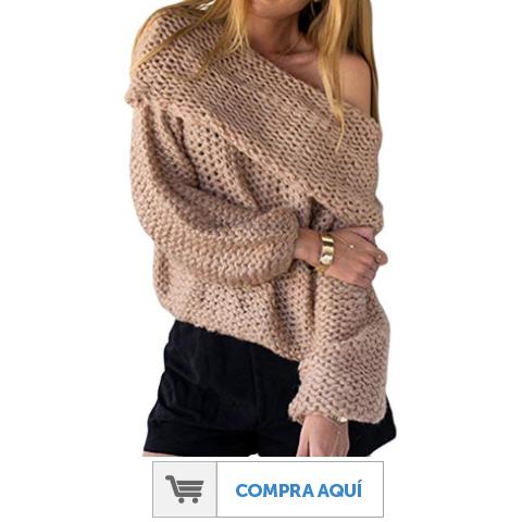 Suéter de hombro caído