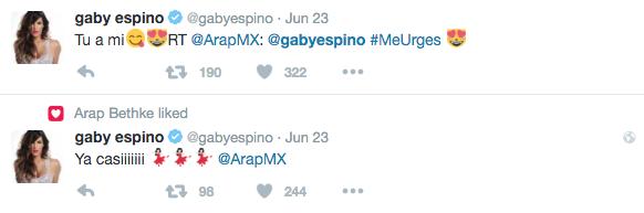Gaby Espino le responde a Arap Bethke amorosamente por Twitter