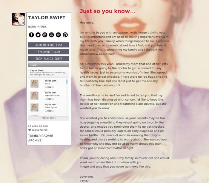 El blog de Taylor Swift con el anuncio de su madre