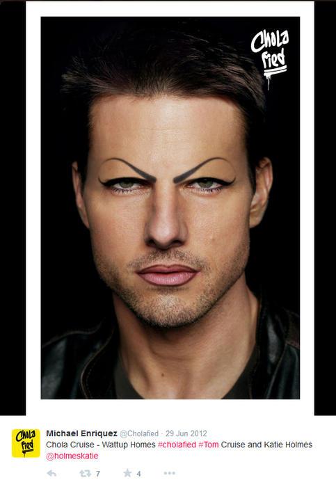 Tom Cruise maquillado como chola