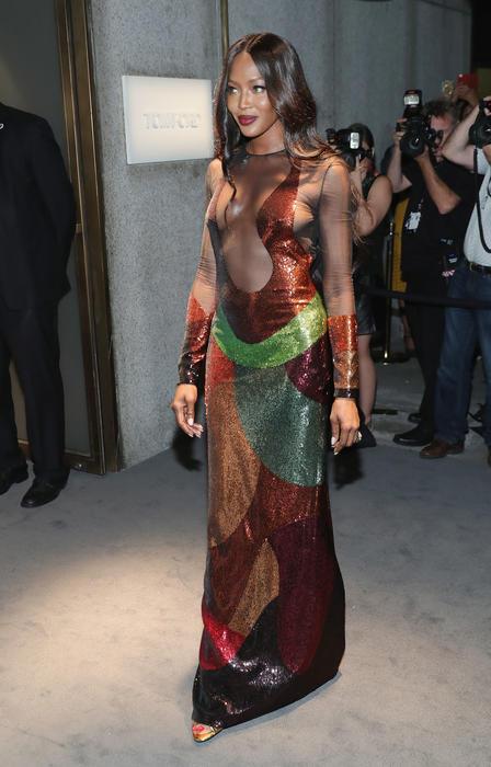 Naomi Campbell en el desfile de Tom Ford en NYFW