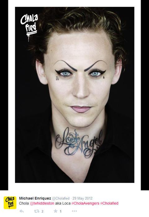Tom Hiddleston maquillado como chola