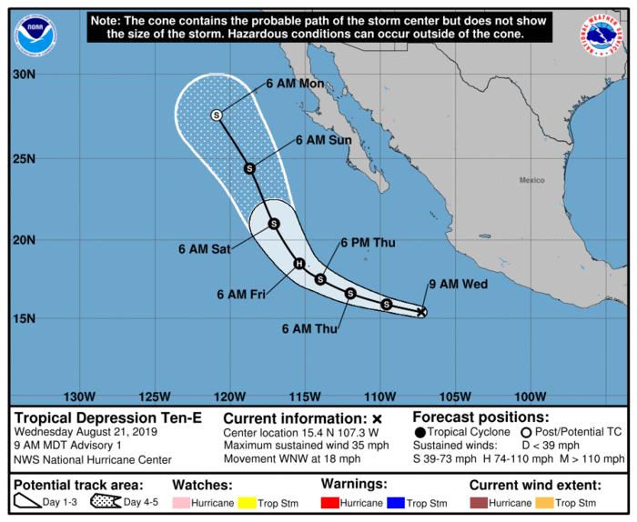 Proyección de la trayectoria de la tormenta Ivo elaborada por el Centro Nacional de Huracanes
