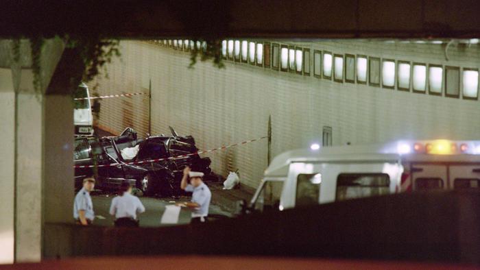 Auto de la princesa Diana tras el accidente en el túnel de l'Alma
