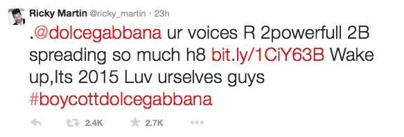 Tweet de Ricky Martin contra Dolce & Gabbana