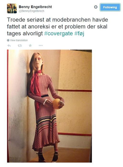 Tuit de Benny Engelbrecht sobre Lululeika, modelo flaca en revista danés Cover