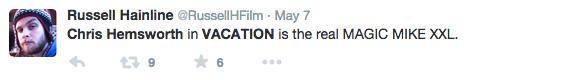 El bulto de Chris Hemsworth, Vacation, alborota las redes sociales.