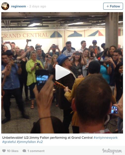 U2 cantando en Grand Central en Nueva York