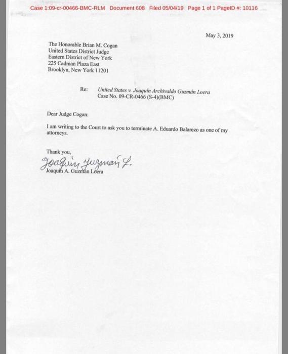 documento de el chapo en el que pide destitución de uno de sus abogados eduardo balarezo