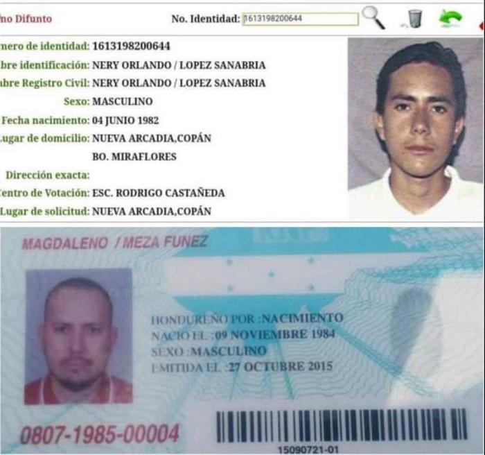 Cédula de identidad de Magdaleno Meza Fúnez.