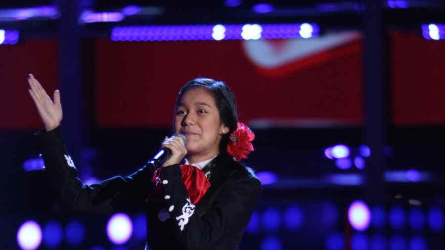 Giselle Lopez en las audiciones a ciegas de la voz kids