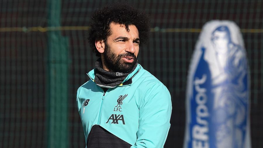 Mohamed Salah entrenando en el Liverpool F.C.