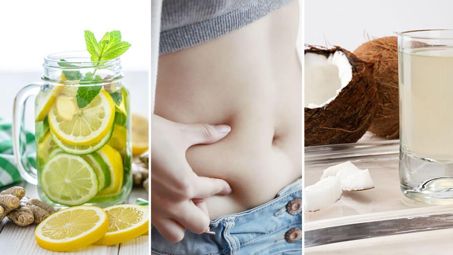 Agua de limón, grasa abdominal y agua de coco