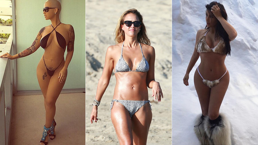 Amber Rose, Jessica Alba y Kim Kardashian en bikini
