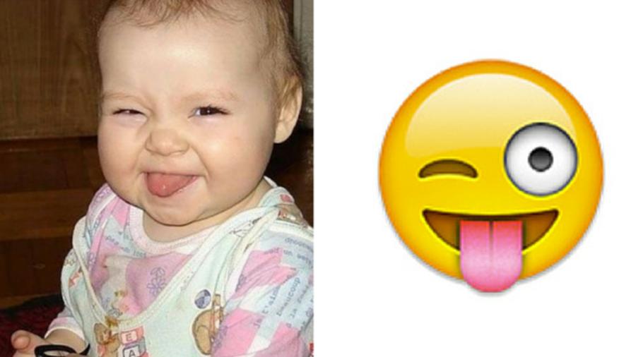Bebé guiñando el ojo como emoji