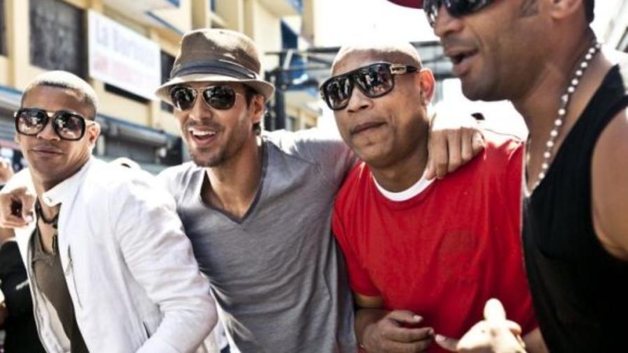 Enrique Iglesias, Descemer Bueno, and Gente de Zona on set for their music video 'Bailando'