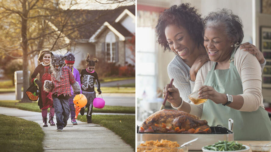 Niños celebrando halloween y mujeres haciendo de comer