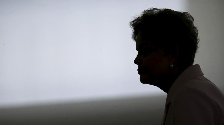 Brazil's President Dilma Rousseff attends a reception ceremony at the Planalto Palace in Brasilia