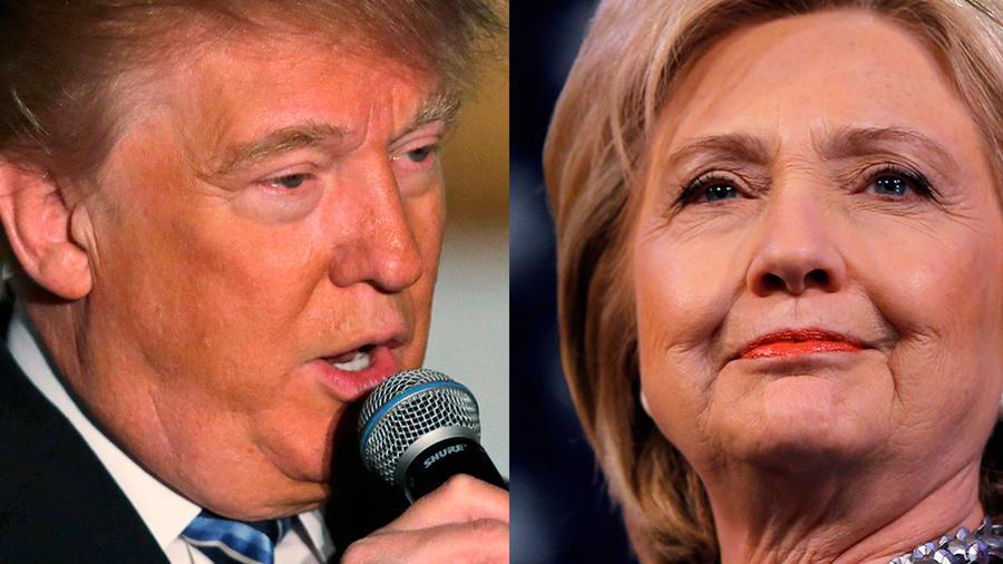 Collage de fotos del precandidato republicano Donald Trump y la demócrata Hillary Clinton
