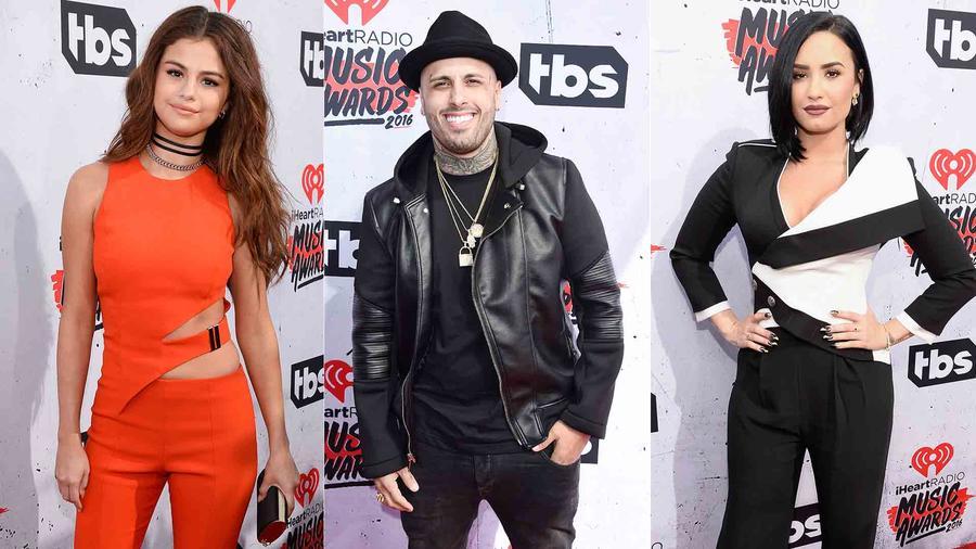 Selena Gomez, Nicky Jam y Demi Lovato en iHeart Radio Music Awards 2016