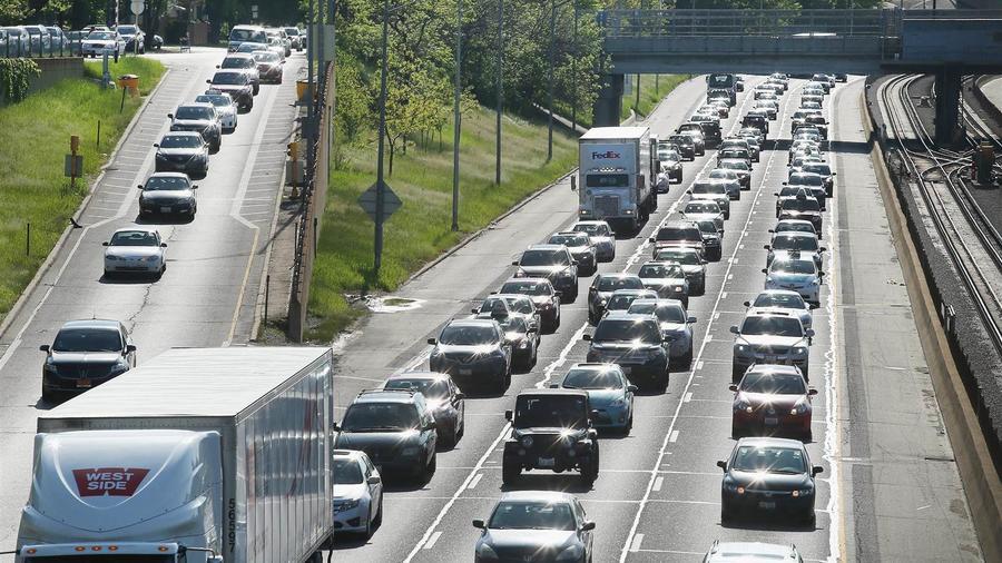 Embotellamiento de tráfico cerca de Chicago a fines de mayo.