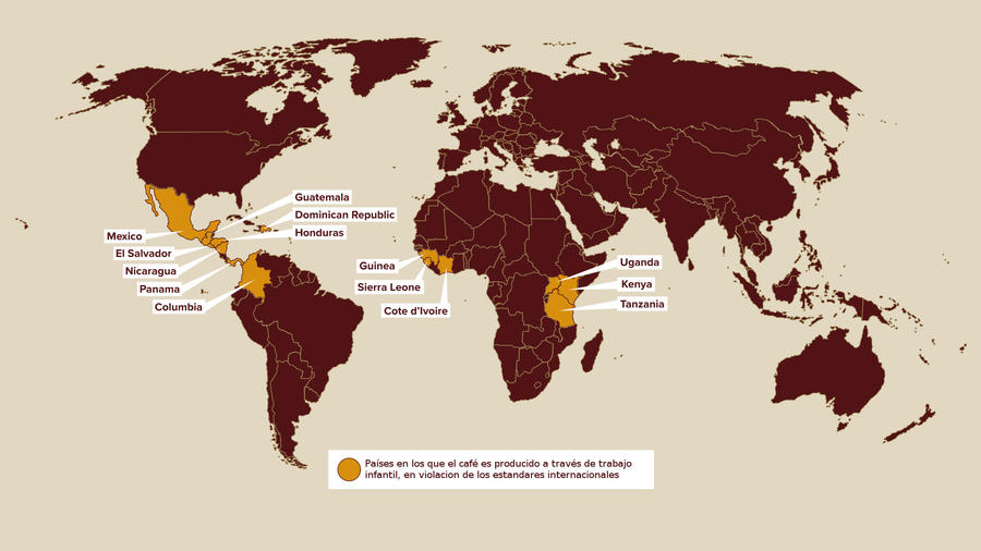 Países en los que el café es producido a través de trabajo infantil, en violacion de los estandares internacionales