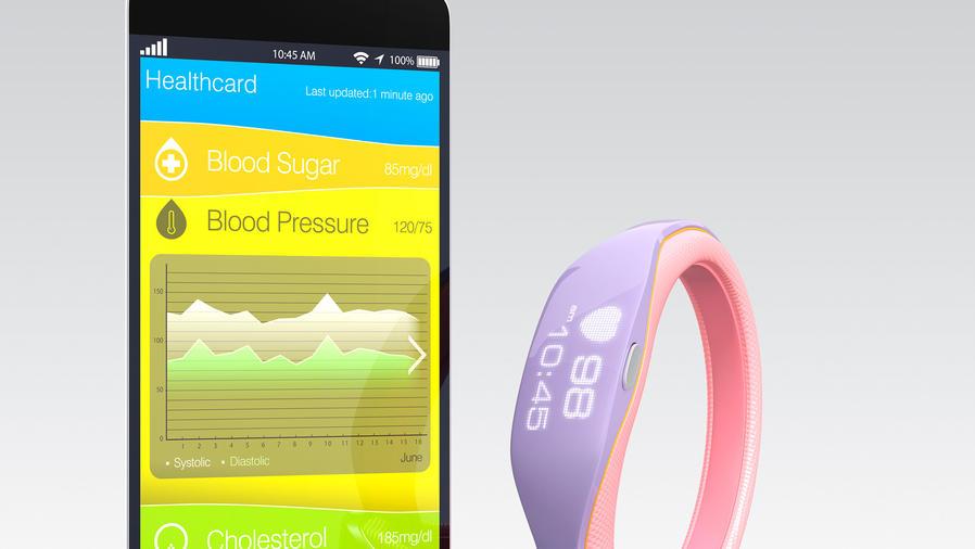 Smartphone con app de diabetes y brazalete
