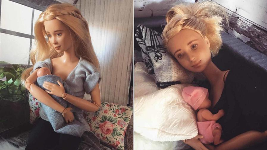 Muñeca Barbie lactando