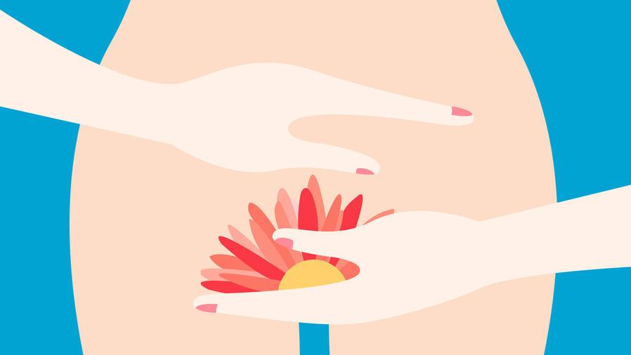 Silueta de mujer con gráfica de flor en su zona íntima