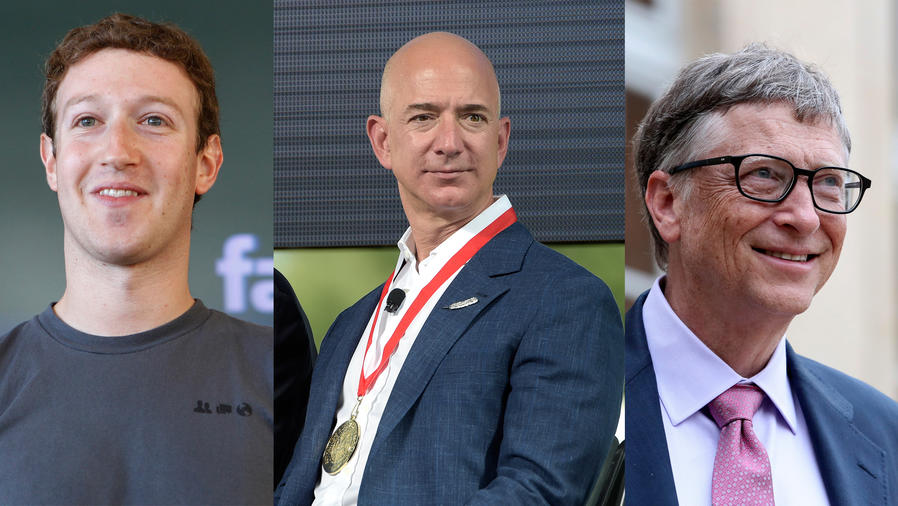Billonarios: Bill Gates, Mark Zuckerberg, Jeff Bezos