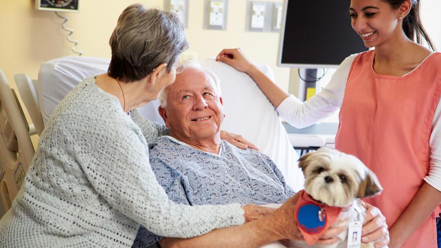 Enfermo en hospital con perro