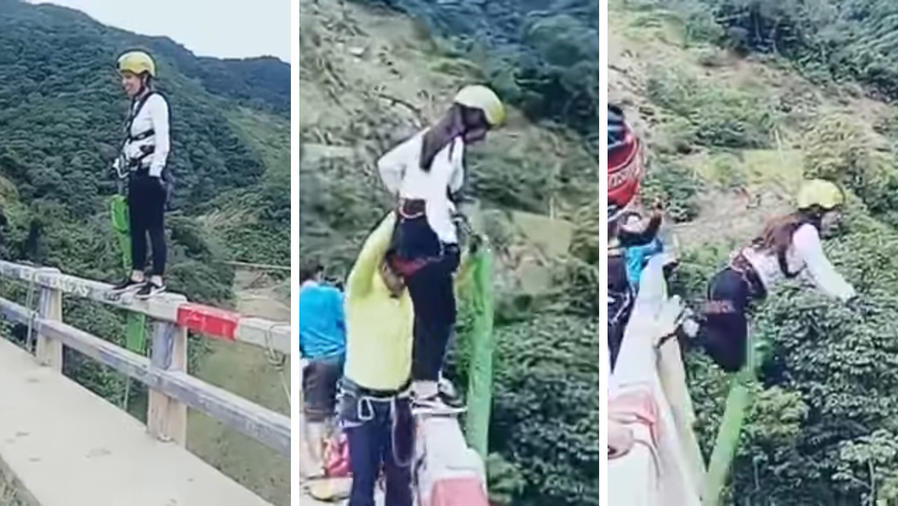 Este bungee jumping terminó en accidente.