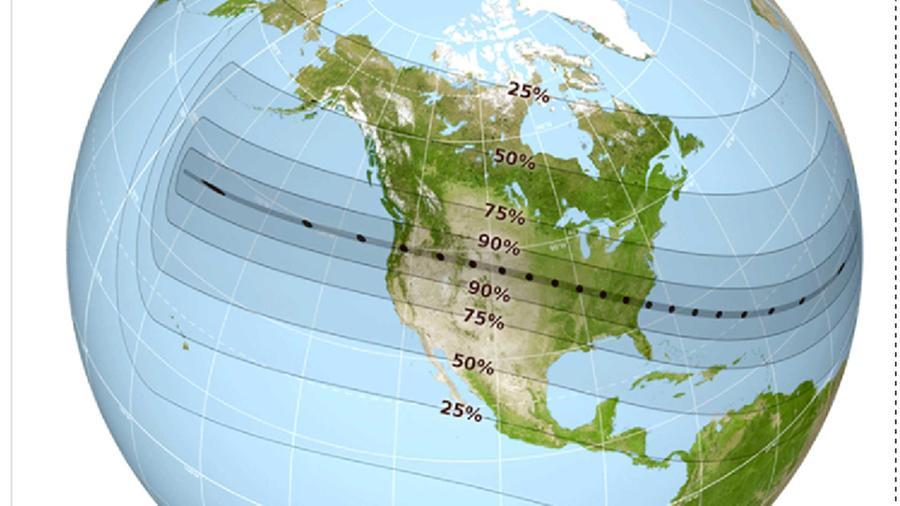 """Zonas en las que se podrá observar el """"Gran Eclipse Americano"""" que según NASA ocurrirá el 21 de agosto del 2017 y que será visible para gran parte del continente"""
